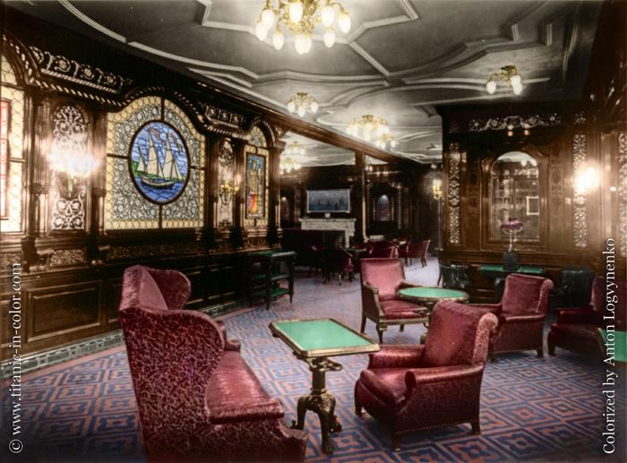 Titanic in color interior titanic her sisters for 1ere classe salon